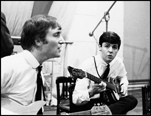 John Lennon and Paul Mccartney at EMI Studios, 1962