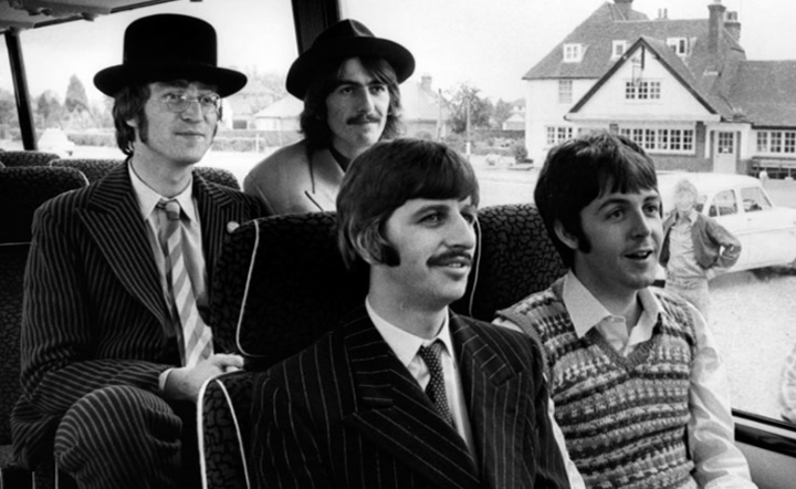 Beatles on bus 1967