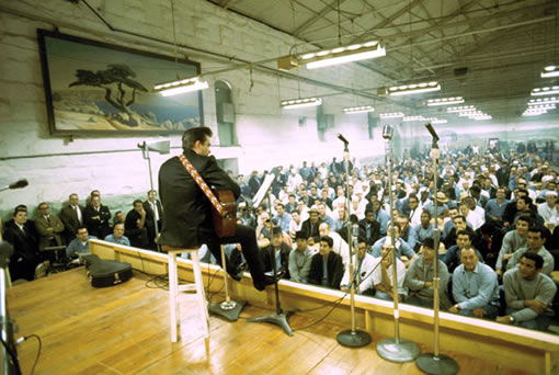 Johnny Cash on stage at Folsom Prison