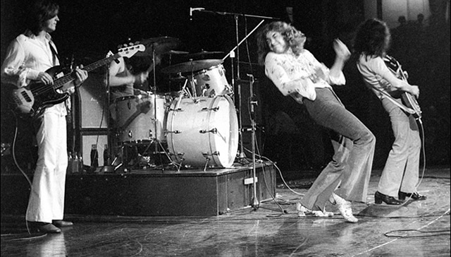 Led Zeppelin on stage in 1969