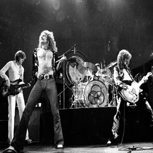 Led Zeppelin on stage in 1973